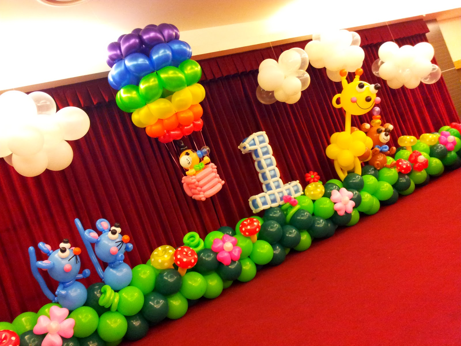 Rb planners event planners and decorators party room for Balloon decoration for 1st birthday